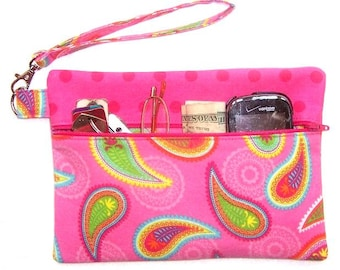 Pink Paisley Clutch Wristlet, Polka Dot Wallet, Cell Phone Holder, Cosmetic or Camera Bag, Front Zippered Purse, Makeup or Gadget Case