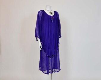 70s dress / Vintage 1970's Boho Gauze Goddess Dress