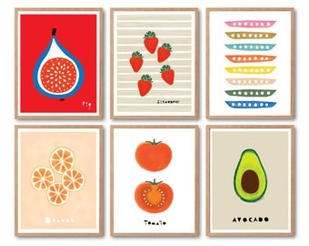 Fruits print set, Any 6 Prints, Fruit illustration, Animal Illustration, Animal Print, Kids room art, Nursery room Art, Baby nursery decor