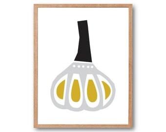 Garlic Art print, Fruit Illustration, Kitchen decor, Vegetable Print, Fruit Print, Botanical Illustration, Botanical Print