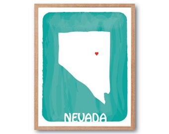 NEVADA MAP - Beige - Personalized Custom Color Watercolor Style Love Wedding Birthday Anniversary GIft Children Kids poster