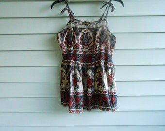 Vtg 80s India Bohemian Floral Ethnic Hippie Gypsy Dolly Eygyptian Tribal Babydoll African Boho Elephant Thin Sheer Sun dress Mini Halter Top