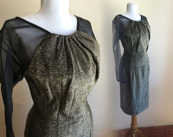 1950s Sexy Deadstock Sparkling Lurex Hourglass 28w Vintage Dress  - Deadstock