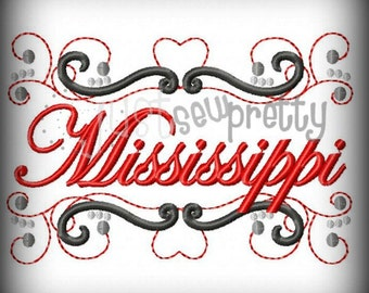 Mississippi State Pride Embroidery Design