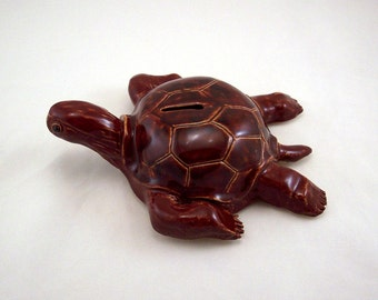 Stoneware Brown Turtle Bank
