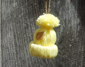 Christmas Ornament  Yarn Handmade Hat Ski Cap Miniature Single Yellow
