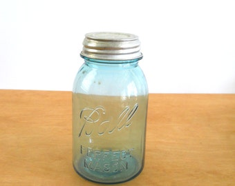Vintage Blue Ball Jar •  Quart Ball Jar with Zinc and Porcelain Lid • Vintage Presto Zinc Lid