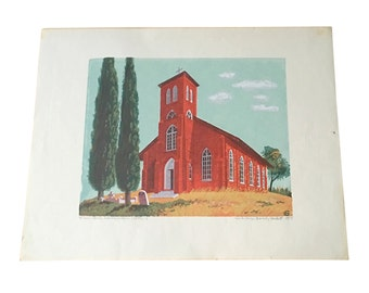 1960s Woodblock Print by Beverly Hackett (1917-2010), Red Country Church
