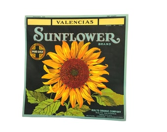 1920s Sunflower Original Label, Valencia California Rilato Orange, Vintage Kitchen Decor