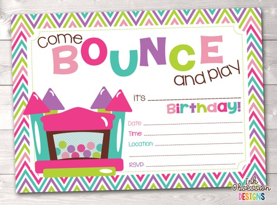 bounce house instant download birthday party invitation girls bouncy castle kids printable. Black Bedroom Furniture Sets. Home Design Ideas