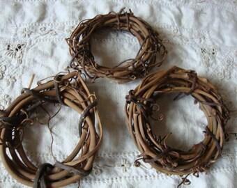 "Mini Grapevine wreaths twig embellishments 3"" Rustic wedding mini twig wreath wedding DIY party decor craft supplies rustic natural"
