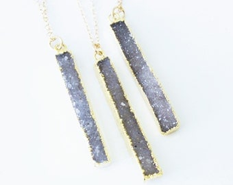 Druzy Necklace, Druzy Bar Necklace, Rectangle Druzy Necklace, Druzy Jewelry, 14kt Gold Filled Crystal Necklace, Bridesmaid Gift
