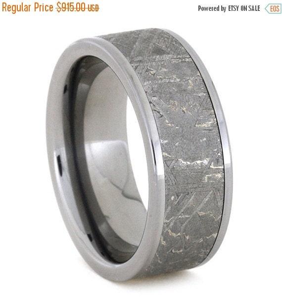 Holiday Sale 10% Off Meteorite Ring, Titanium Ring Meteorite Wedding Band, the Meteorite alone is 6mm wide showing fantastic Widmanstatten p