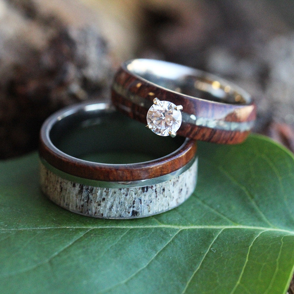Wood Wedding Ring Set Rustic Bridal Set In Ironwood And