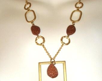 mod vintage burnt orange goldstone and gold links necklace