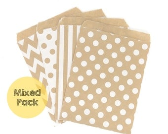 12 Flat Paper Bags - Kraft Paper Bags - Polka Dot Paper Bags - Striped Gift Bags - Chevron Party Bags - Party Favor Bags - Wedding Favor Bag