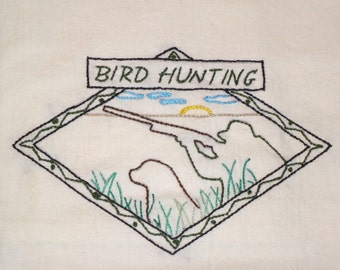 Embroidered Floursack Dishtowel with Bird Hunting Theme