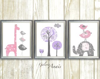 Nursery Decor girl  Pink Purple Gray Nursery wall art Baby room decor Elephant nursery Giraffe Nursery Tree Set of three prints
