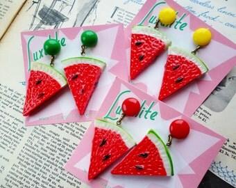 Novelty Juicy Watermelon slice earrings - 1940's vintage inspired earrings handmade by Luxulite