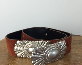 Vintage CONCHO Belt • 1970s Accessories • Womens High Waist Western Wear Silver Metal Buckle Studs Cowgirl 90s Rust Red Brown Suede Leather
