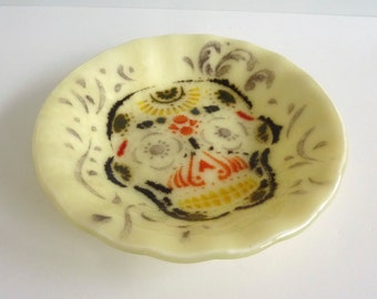 Fused Glass Day of the Dead Bowl in French Vanilla