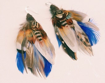 Large Feather Earrings. Rusalka in Cobalt Blue. One of kind