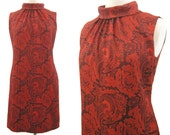 Vintage 60s Dress Mod Red Psychedelic Print Shift Mini M as is