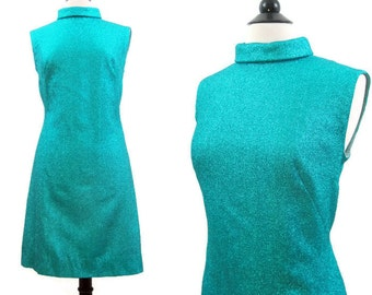 Vintage 60s Dress Mod Space Age Turquoise Lame Shift Cocktail Party Mini M L