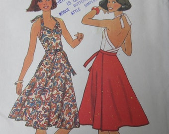 Vintage Sewing pattern Simplicity Size Medium 14-16 Bust 34-36 Backlesss HALTER Top WRAP Skirt  1970s Retro UNCUT