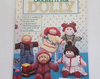 """McCall's Crochet it for Dolly Cabbage Patch Clothes Patterns 10 Outfits 16"""" & 19"""" dolls Dated 1985 80's"""
