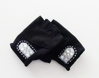 Silver Bling Strength Training Gloves / Ladies Vegan Black Suede Leather Fingerless Gloves With Rhinestones / Made-To-Order Gift Under 50