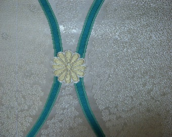 Fukuro obi S171, off white and turquoise