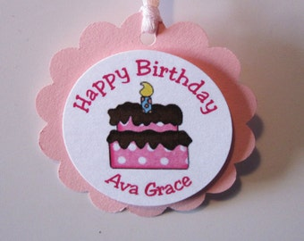 12 - Pink Birthday Cake Birthday Favor Tags