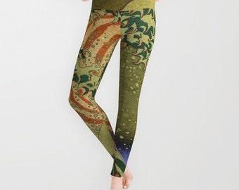 Version Of The Great Wave Off Kanagawa Leggings, Yoga Pants, Fashion, Yoga Leggings,Women,Teen Active Wear, Running Pants,Jogging Pants,Surf