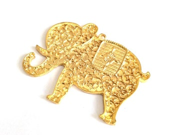 1 pc - Matte Gold plated HUGE Elephant  Pendant -80x65 mm-(026-004GP)