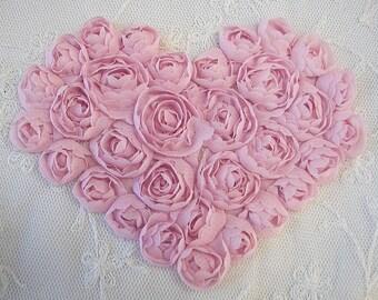 PINK Floral Heart Applique Handmade Ribbon Rose Bud Flower Valentine