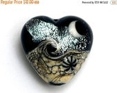 ON SALE 60% OFF Sable Celestial Heart - 11832805 Handmade Glass Lampwork Bead