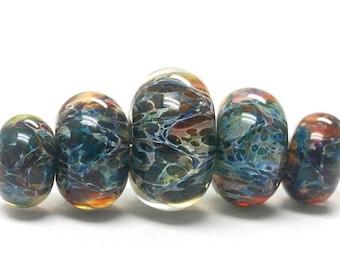 ON SALE 50% OFF Handmade Glass  Lampwork Beads - Five Graduated Blue/Multi-colors Boro Rondelle Beads 10409511