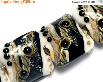 ON SALE 50% OFF Glass Lampwork Bead Sets - Four Ravens Stardust Pillow Beads 10204714