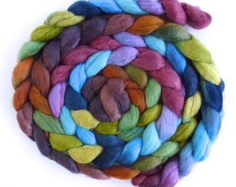 Polwarth/Silk Roving - Handpainted Spinning or Felting Fiber, Time Stood Still