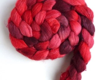 Merino/ Silk Roving (Top) - Handpainted Spinning or Felting Fiber, Heartfelt