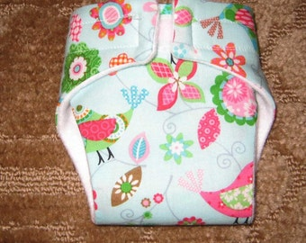 Baby Doll Diaper/Wipe/ Birds and Flowers-Reuseable-Fits Bitty Baby, Baby Alive, Cabbage Patch Dolls and More