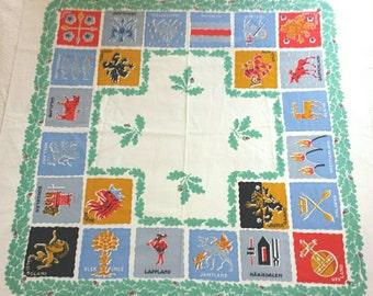 "Vintage Tablecloth - Swedish Scandinavian Tablecloth 47"" Square Unused"