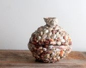 Vintage Souvenir Coconut Shell Covered with Tiny Shells, Nautical Seashell Box, Barbados