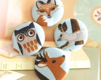 "Handmade Country Large Light Blue Brown Woodland Animals Owl Rabbit Fox Deer Fabric Covered Button Fridge Magnets, Flat Back, 1.25"" 4's"