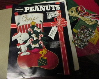 Vintage Needlework Christmas Stocking Kit Peanuts Snoopy Sweet Tree Malina 8450/002 Jeweled Felt Kit Woodstock and Beagle Open but Complete