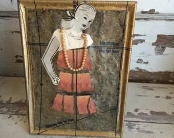Collage Dress - Broken China Mosaic - Boho Pink Ruffled- Mixed Media Art - Picture