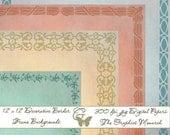 Digital Paper Pack 8 Vintage Distressed Background Decorative Frame Scrapbooking Printable Downloads