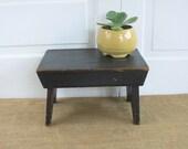 RESERVED......Vintage Black Stool, Vintage Bench Ottoman, Primitive Black Stool, Rustic Stool, Industrial Decor