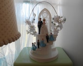 Vintage Large hard plastic Wedding Cake Topper Wilton Chicago Made in Hong Kong